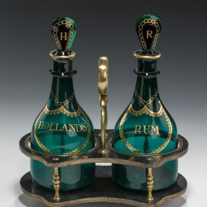 Bristol-Green-decanters-pair-mallet-shaped-Rum-Holland-papier-mache-stand-antique-5429_1_5429