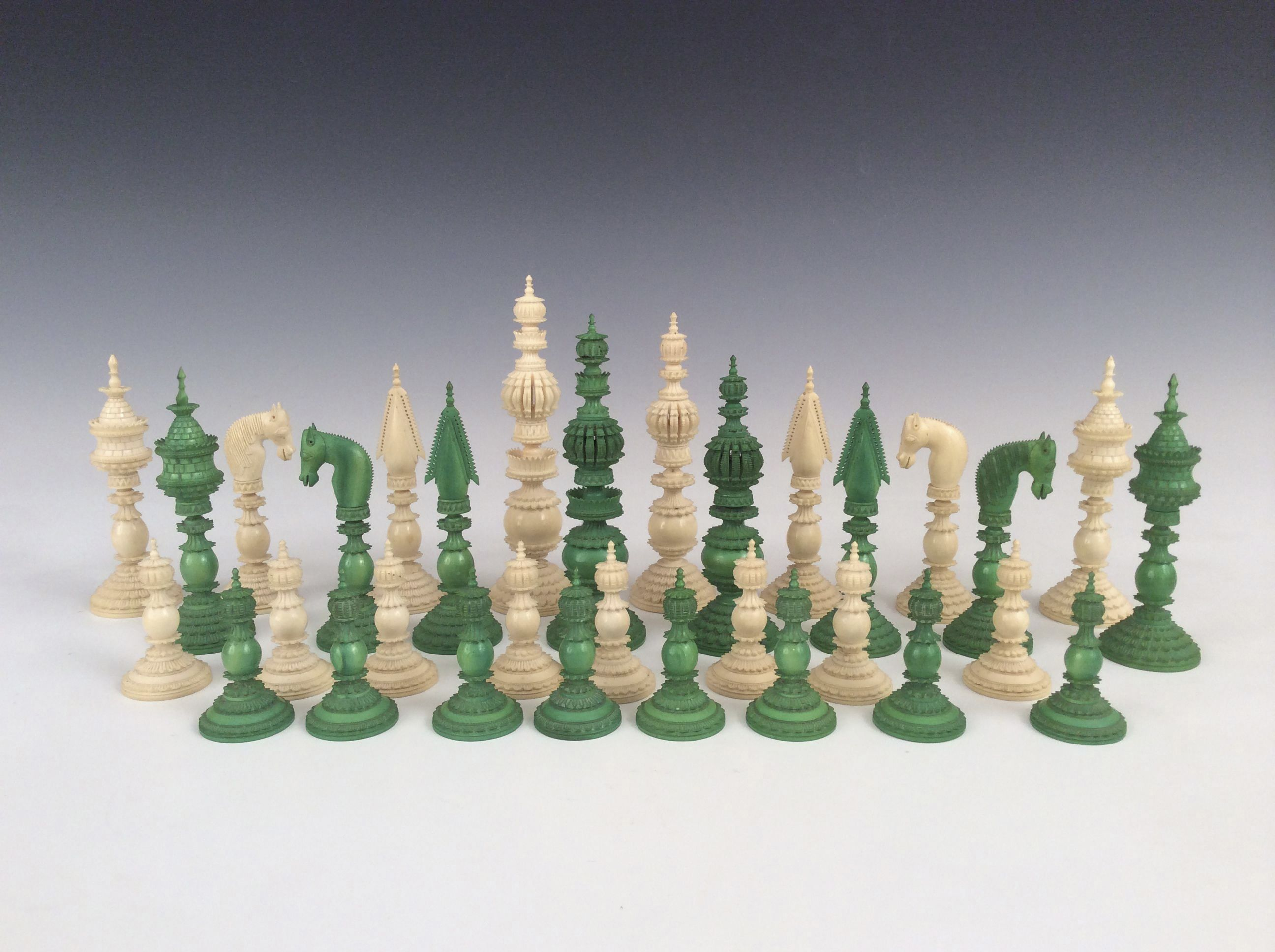 Antique green white ivory pepys chess set - Collectible chess sets ...