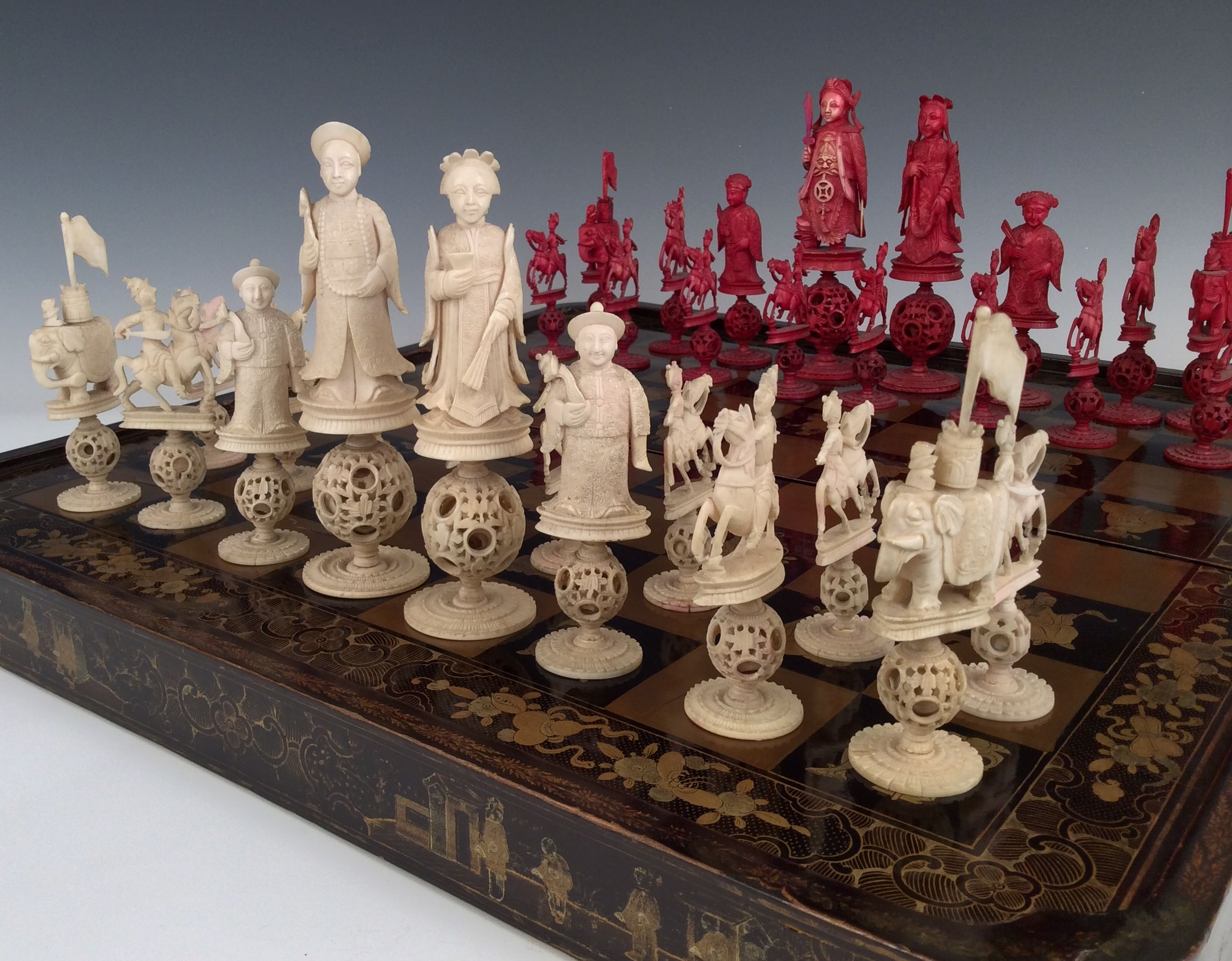 Antique chinese lacquer board and ivory chess set - The chessmen chess set ...