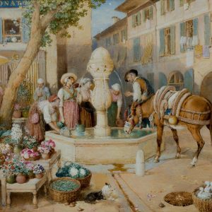 Myles-Birket-Foster-watercolour-Fountain-at-Toulon-France-antique-3334_1_3334