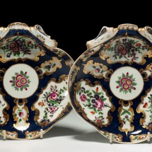 ANTIQUE PAIR WORCESTER SHELL SHAPED DISHES