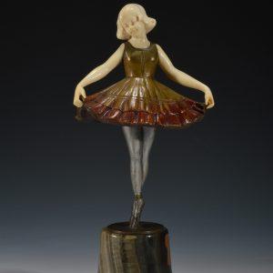 CHARLES HENRI MOLINS ART DECO BRONZE IVORY BALLERINA