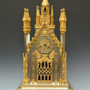MAGNIFICENT ANTIQUE FRENCH GILT ORMOLU BRONZE AND SILVERED CATHEDRAL MANTLE CLOCK