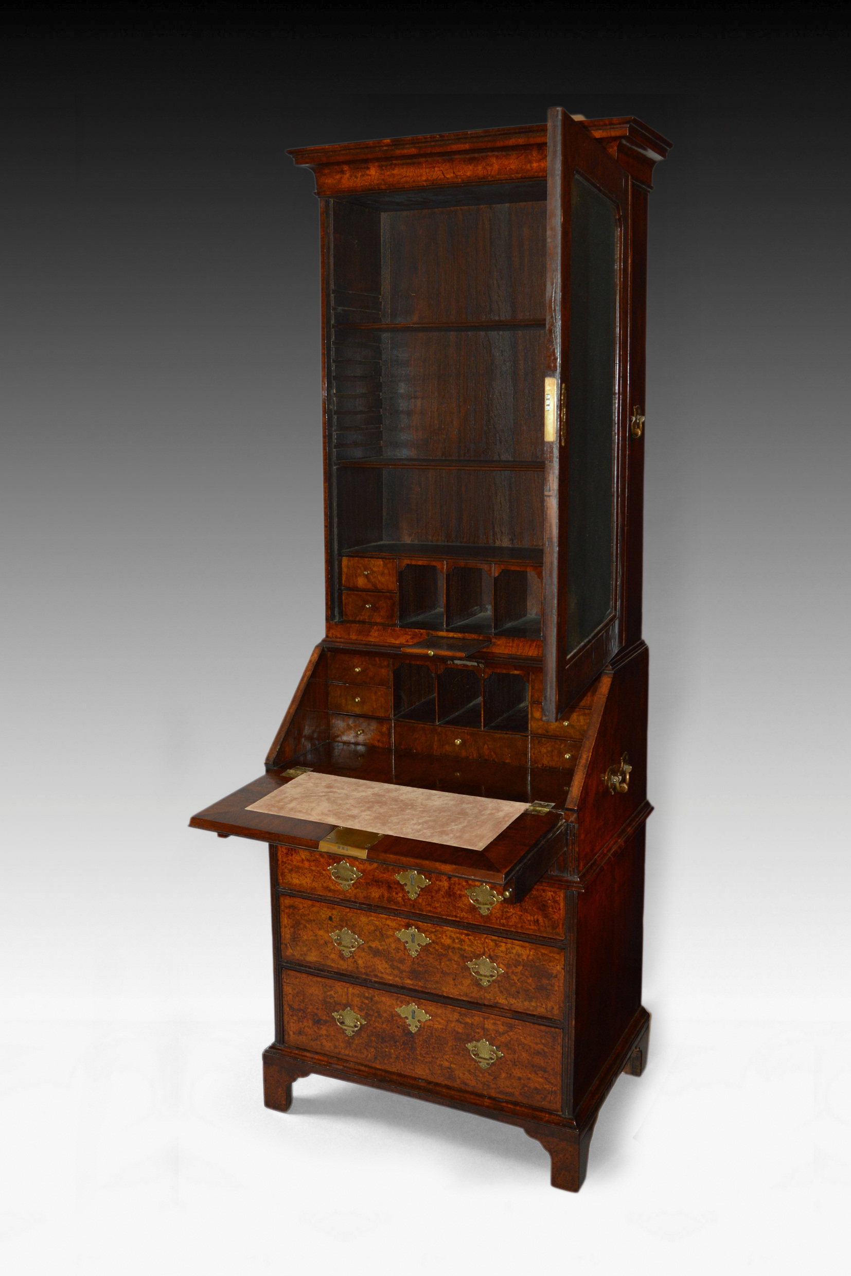 antique rare small size queen anne walnut bureau bookcase. Black Bedroom Furniture Sets. Home Design Ideas