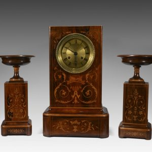 FRENCH ROSEWOOD CLOCK SET GARNITURE