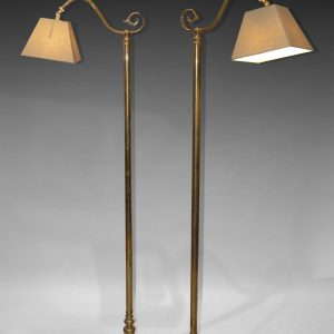 ANTIQUE PAIR OF BRASS STANDARD READING LAMPS