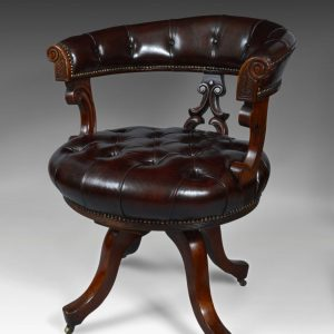 ANTIQUE 19TH CENTURY LEATHER REVOLVING DESK CHAIR