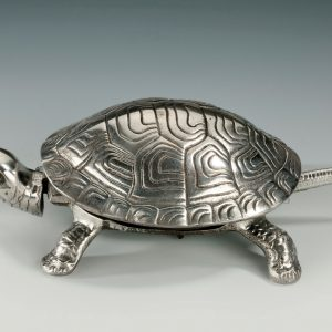 ANTIQUE SILVER PLATED TORTOISE TABLE BELL