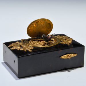 TORTOISESHELL AND GILT METAL SINGING BIRD BOX BY BONTEMS