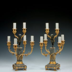 ANTIQUE PAIR OF NAPOLEON III GILT BRONZE TABLE LAMPS