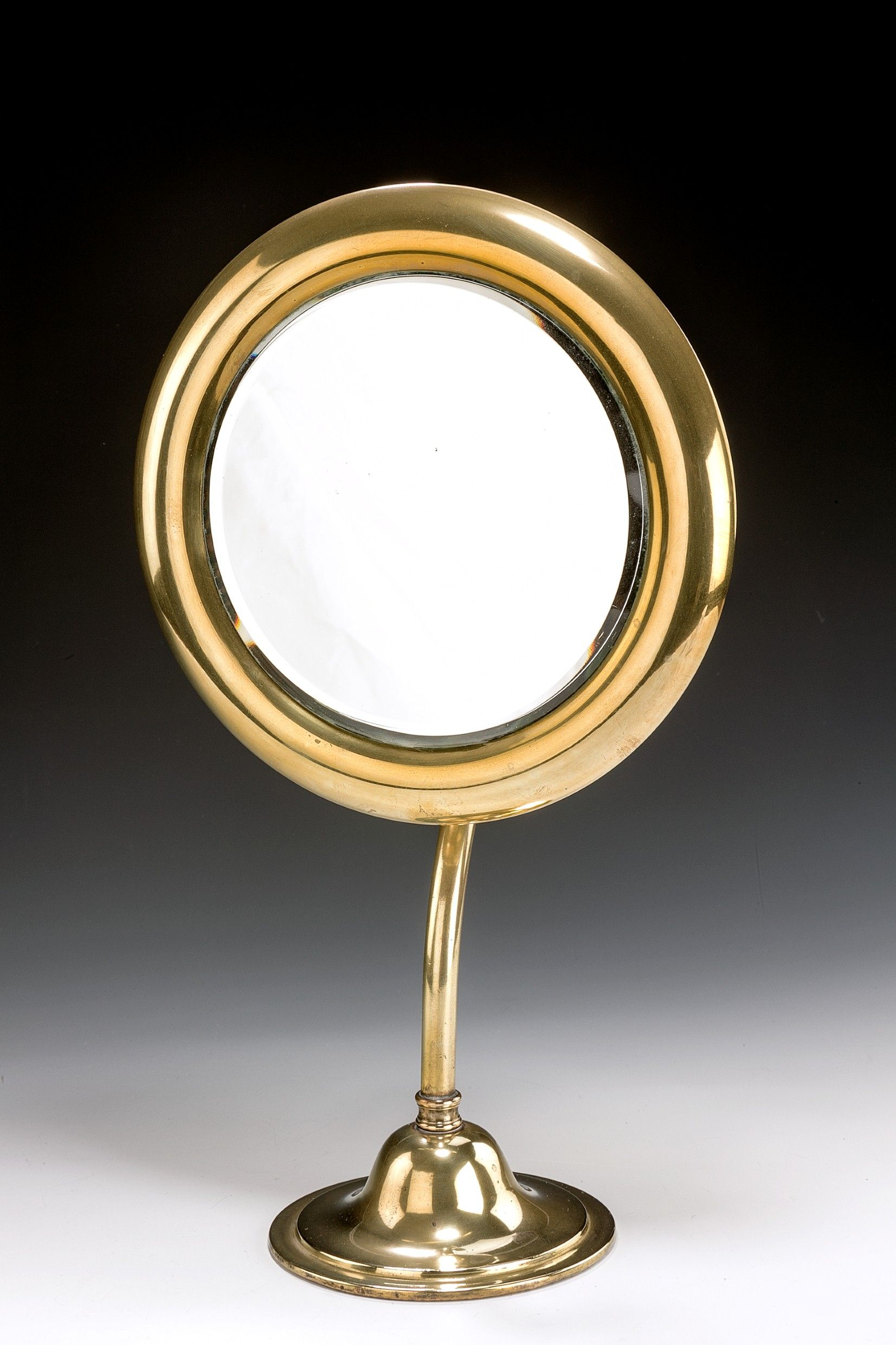 Vintage circular brass adjustable shaving mirror for Shaving mirror