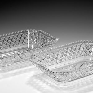 PAIR OF ANTIQUE CUT GLASS SERVING DISHES