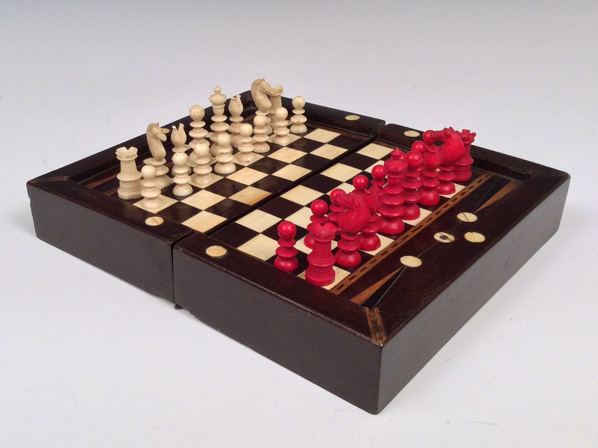 Antique miniature games board and ivory chess set - Collectible chess sets ...