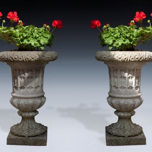 PAIR OF ANTIQUE CARVED GARDEN STONE URNS