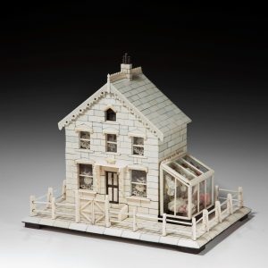 ANTIQUE IVORY MODEL OF A HOUSE WITH CONSERVATORY & FLOWERS