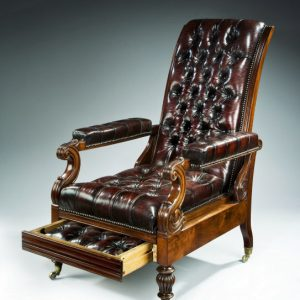 ANTIQUE RECLINING MAHOGANY & LEATHER LIBRARY ARMCHAIR