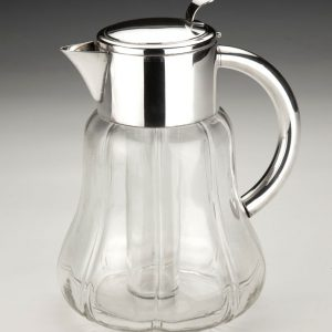 ANTIQUE GLASS AND SILVER PLATED LEMONADE JUG