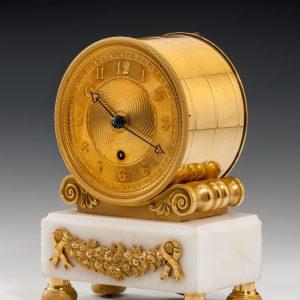 REGENCY ORMOLU & WHITE MARBLE MANTEL CLOCK