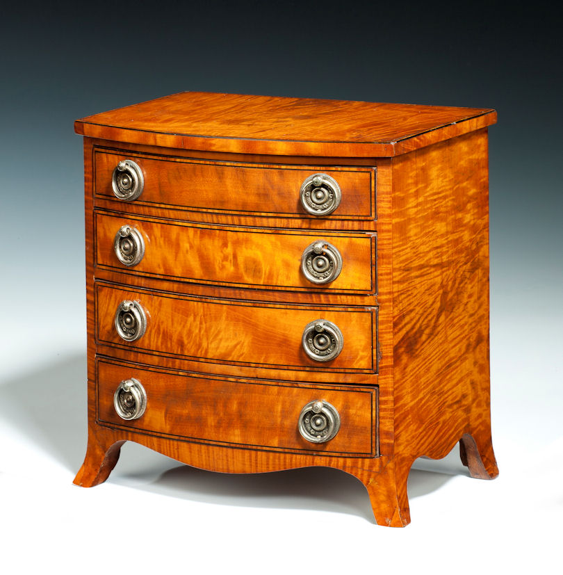 ANTIQUE MINIATURE SATINWOOD CHEST OF DRAWERS - Antique Miniature Furniture  Antique Home - Antique Miniature Furniture - Antique Miniature Furniture Antique Furniture