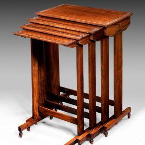 ANTIQUE WILLIAM IV ROSEWOOD NEST OF FOUR TABLES
