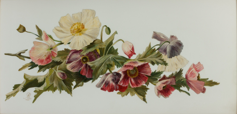 FLOWER PAINTING ON GLASS Richard Gardner Antiques