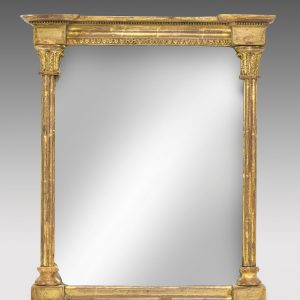 ANTIQUE SMALL REGENCY GILT FRAMED PIER GLASS