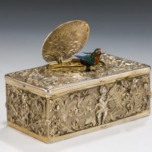 ANTIQUE SILVER SINGING BIRD BOX
