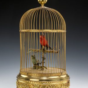 LARGE ANTIQUE DOUBLE SINGING BIRDS IN CAGE BY BONTEMS