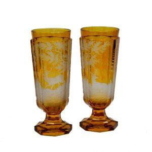 ANTIQUE PAIR BOHEMIAN GLASS VASES