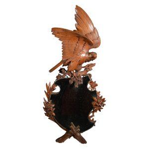 ANTIQUE BLACK FOREST CARVED EAGLE MIRROR
