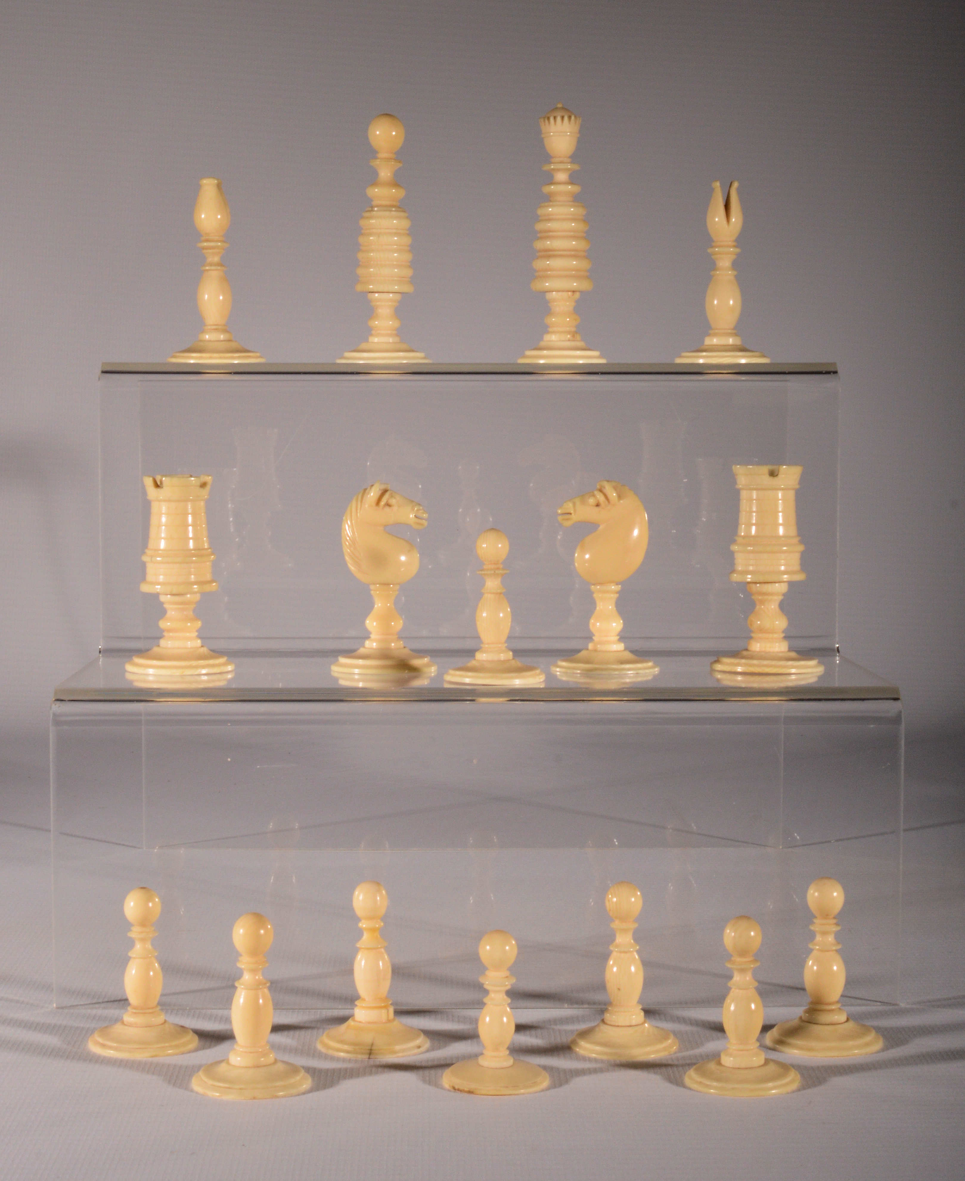 Antique early 19th century ivory chess set - Collectible chess sets ...