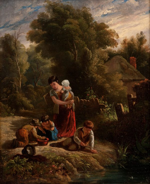 19TH CENTURY ENGLISH SCHOOL OIL PAINTING CHILDREN BY STREAM