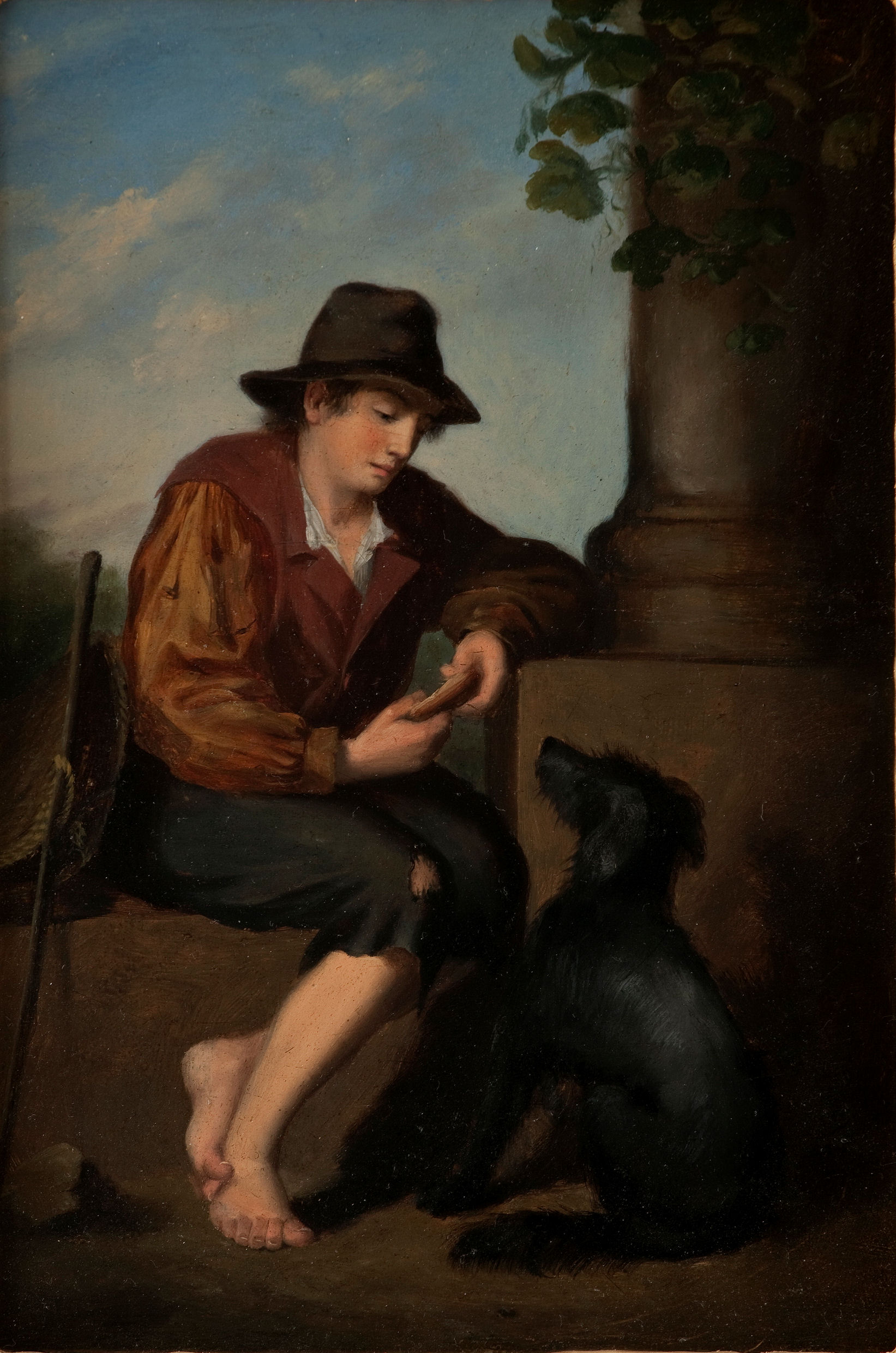 19th CENTURY ITALIAN SCHOOL OIL PAINTING TRAVELLER & DOG