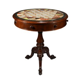 ANTIQUE SPECIMEN MARBLE TOP DRUM GAMES TABLE