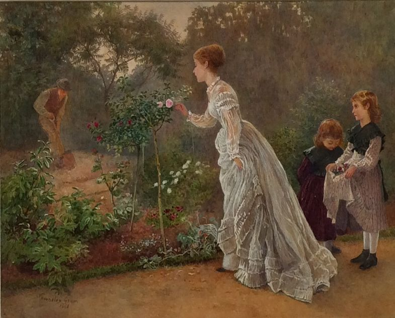 HENRY TOWNELEY GREEN WATERCOLOUR PAINTING GARDEN WOMAN CHILDREN