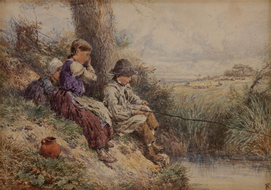 MYLES BIRKET FOSTER WATERCOLOUR CHILDREN FISHING LANDSCAPE