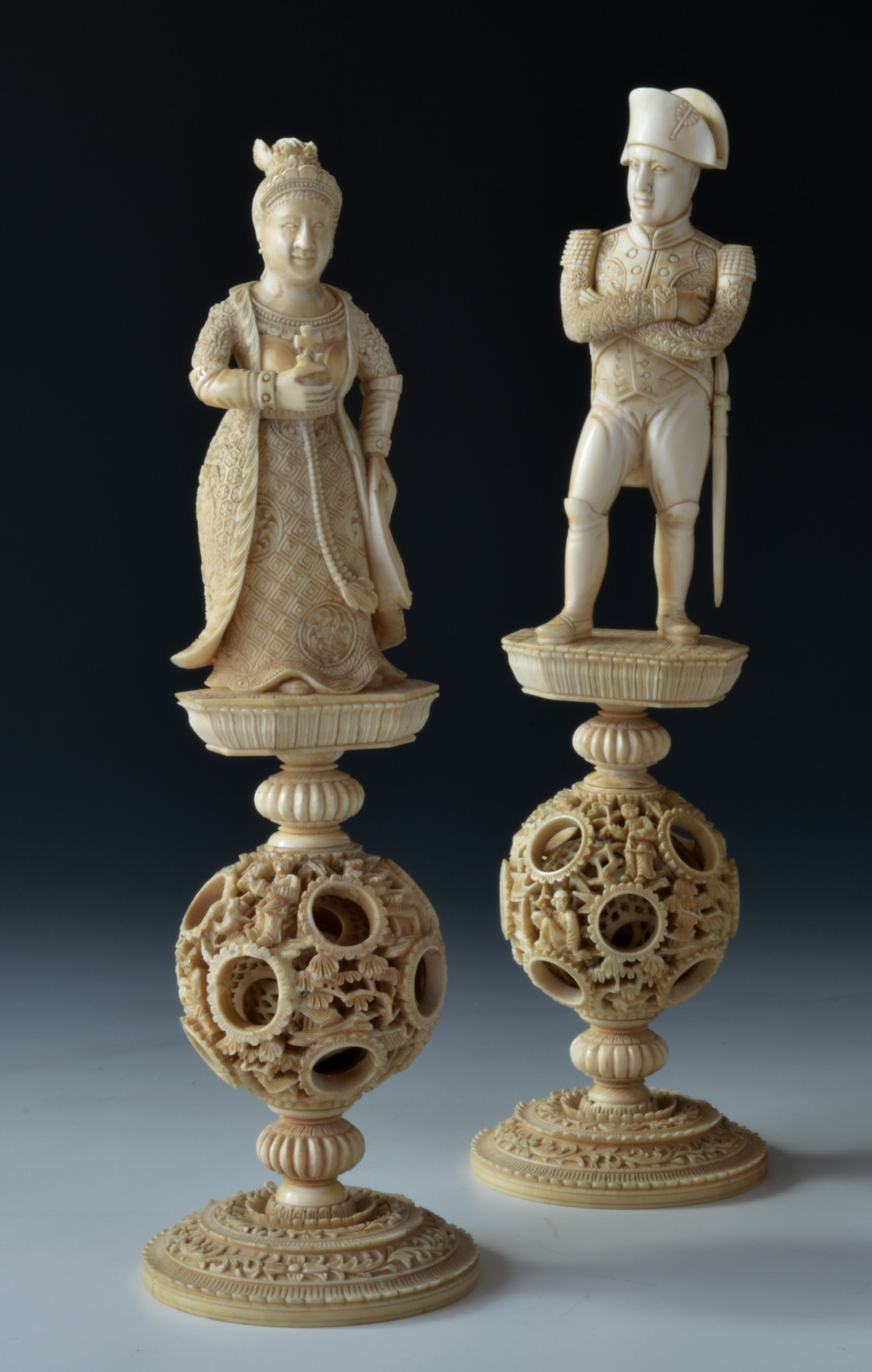 A very fine and rare early 19th century chinese ivory napoleon chess set richard gardner antiques - Collectible chess sets ...