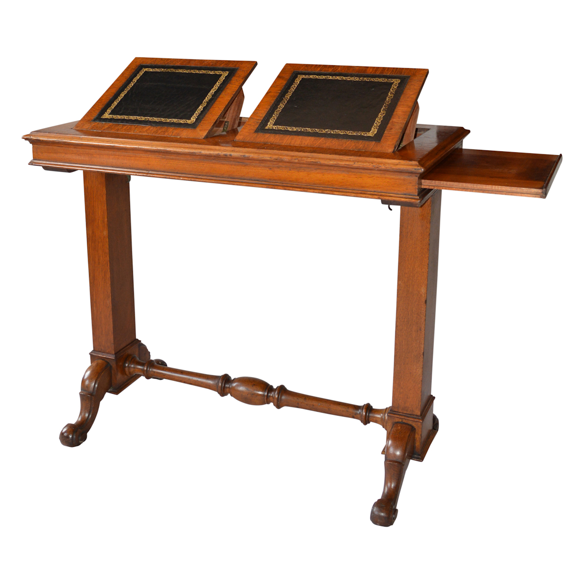 Late 19th century oak patent reading table richard for Table th onclick