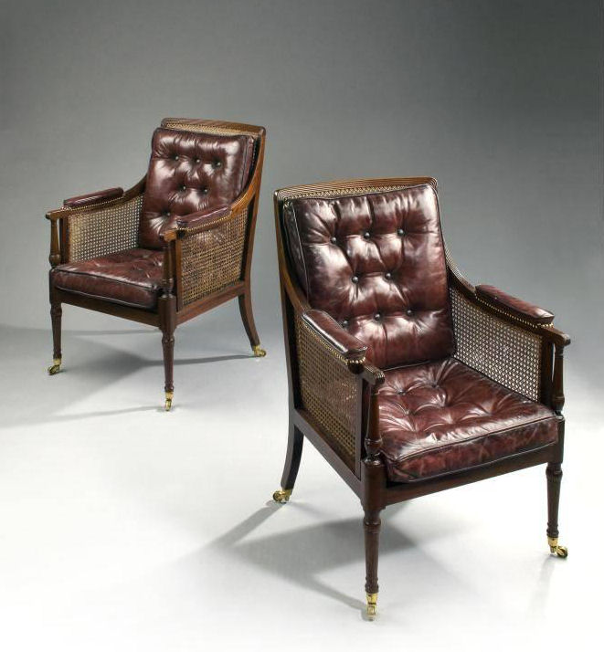 Send Enquiry For PAIR OF REGENCY LIBRAY BERGERE CHAIRS