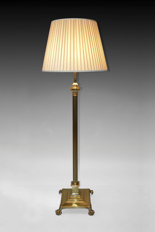 Antique brass adjustable reeded column standard lamp for Reeded brass floor lamp