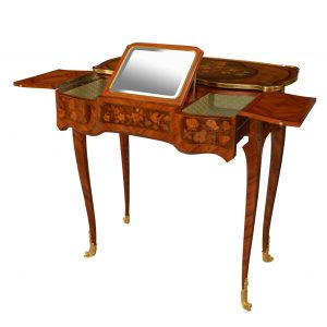 19TH CENTURY KINGWOOD AND MARQUETRY TABLE DE TOILETTE