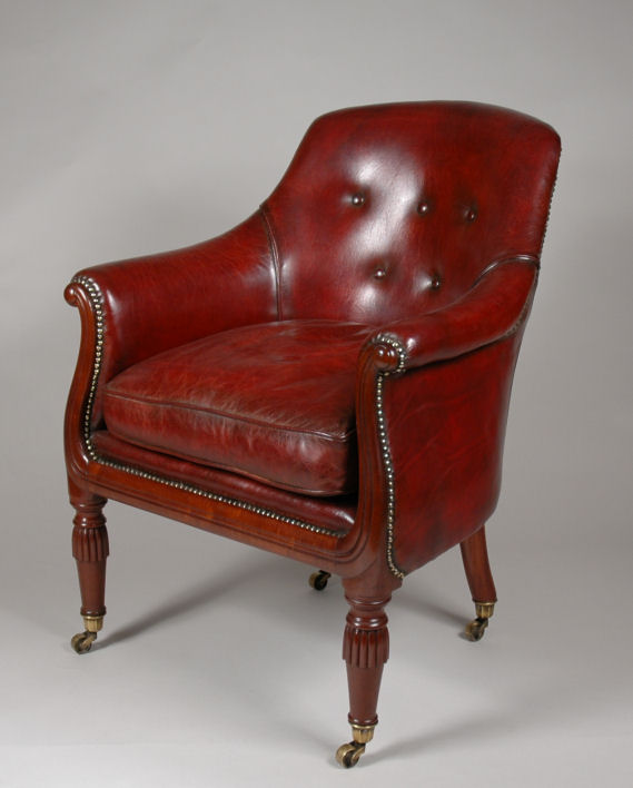 Send Enquiry for REGENCY LEATHER TUB CHAIR - REGENCY LEATHER TUB CHAIR - Richard Gardner Antiques