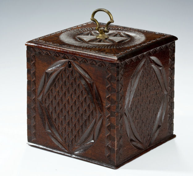 Antique dutch mahogany tea caddy with geometric design