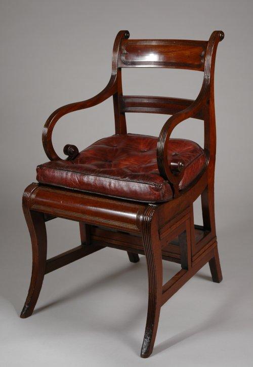 antique-metamorphic-library-chair-steps-mahogany-leather-Regency- - REGENCY METAMORPHIC LIBRARY CHAIR - Richard Gardner Antiques