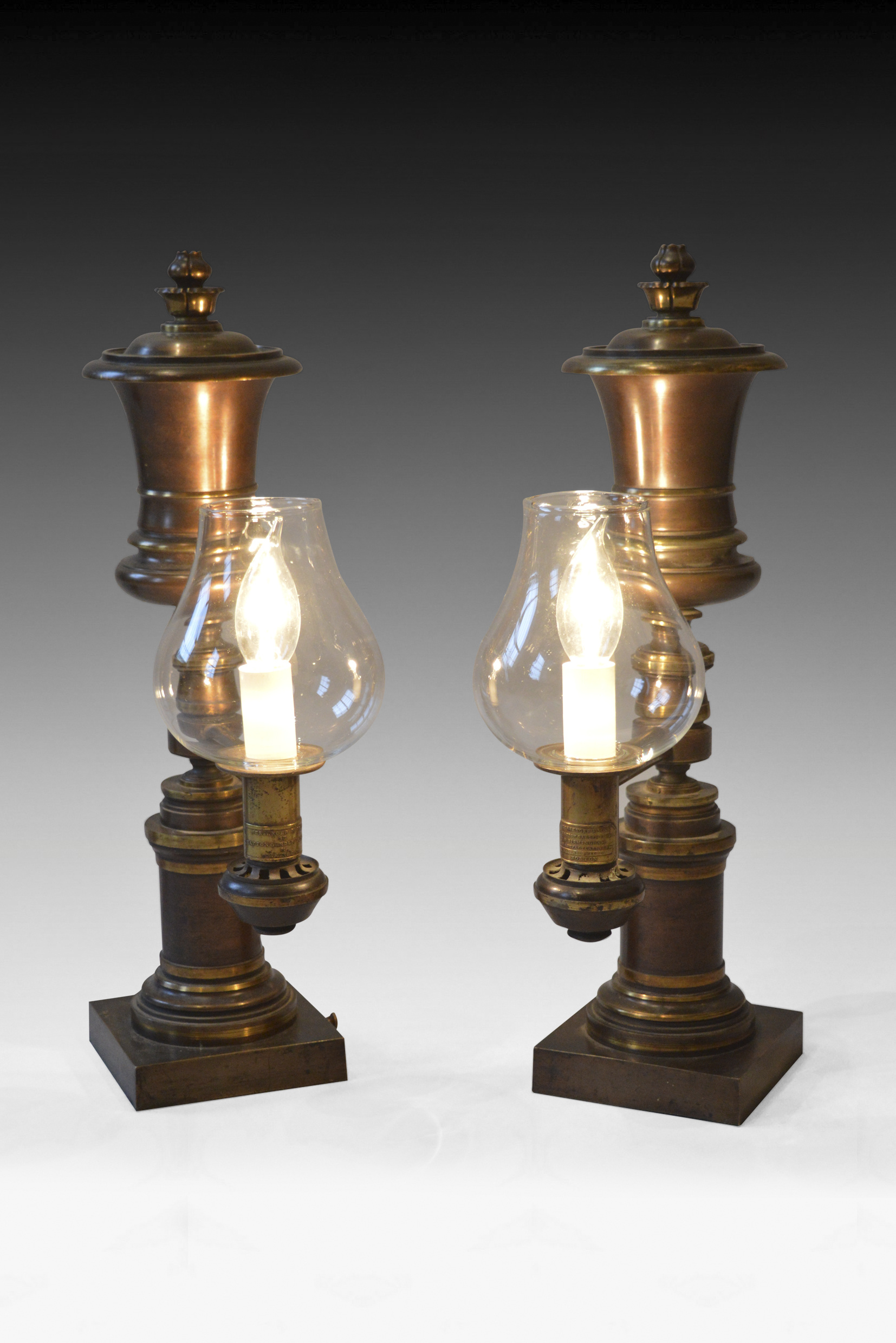ANTIQUE PAIR OF PATINATED BRONZE ARGAND LAMPS BY MESSENGERS
