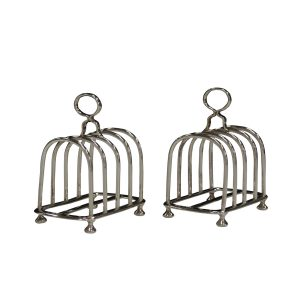 PAIR OF ANTIQUE SILVER TOAST RACKS
