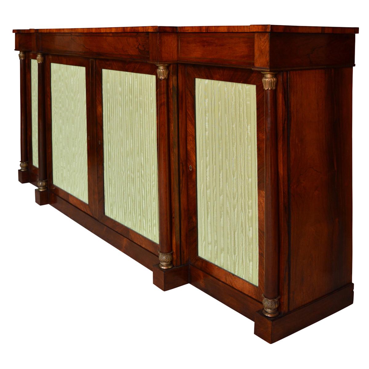 Antique Regency Rosewood Breakfront Side Cabinet