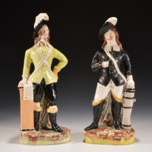 ANTIQUE PAIR STAFFORDSHIRE FIGURES, CHARLES I & PRINCE RUPERT