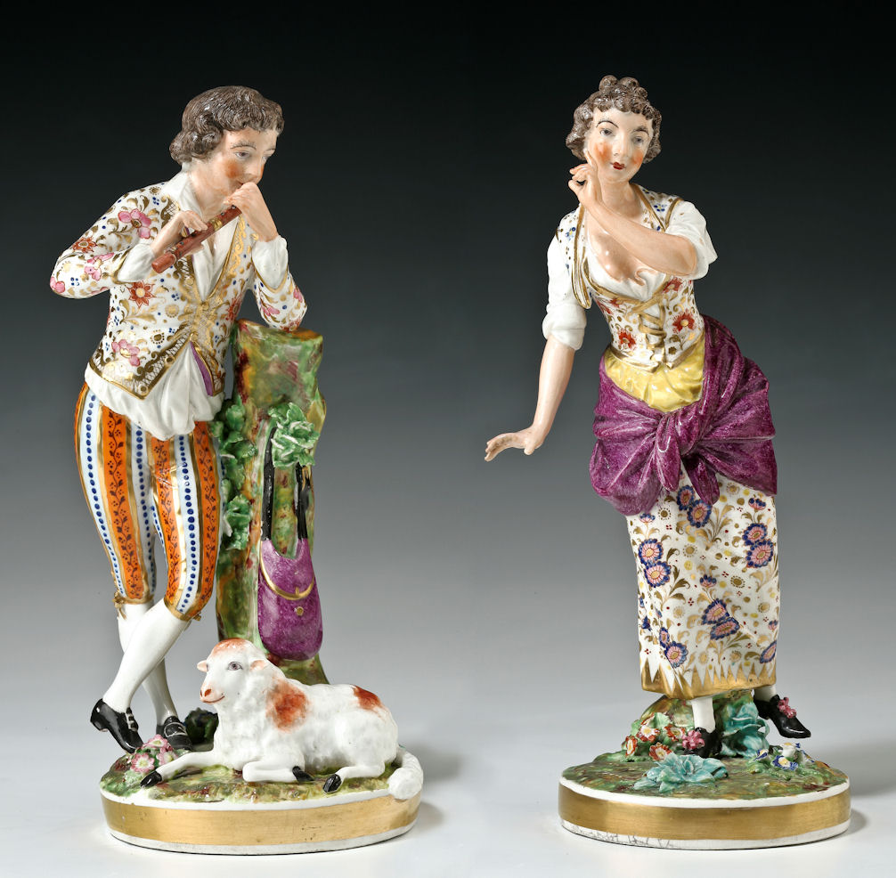 ANTIQUE PAIR BLOOR DERBY FIGURES