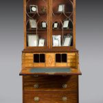 ANTIQUE GEORGE III MAHOGANY SECRETAIRE BOOKCASE WITH GLAZED TOP